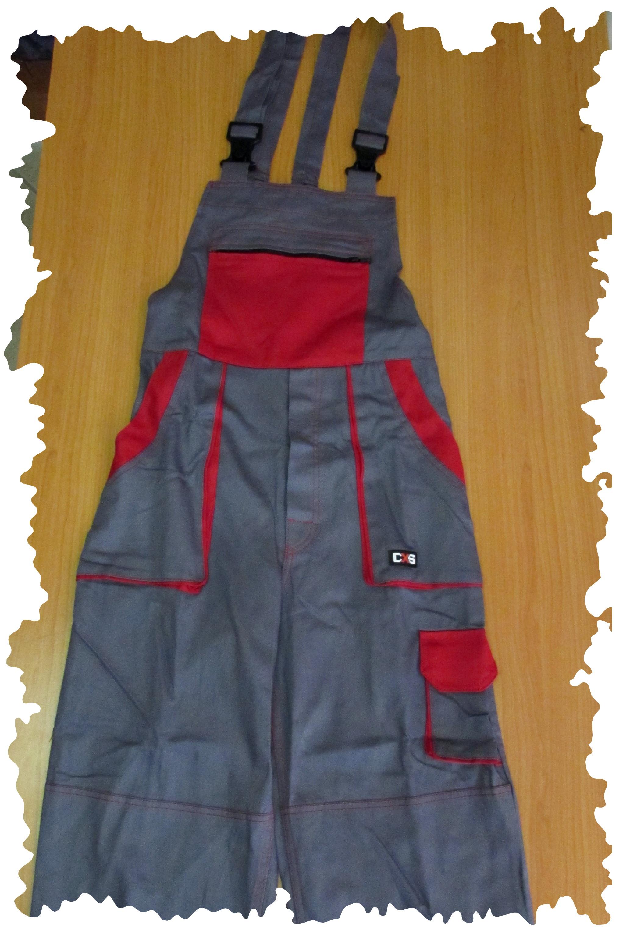 sivočervené nohavice montérky